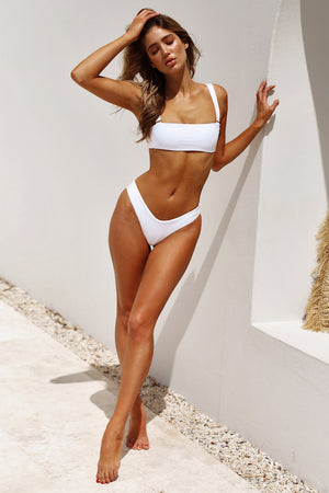white bandeau high cut bikini
