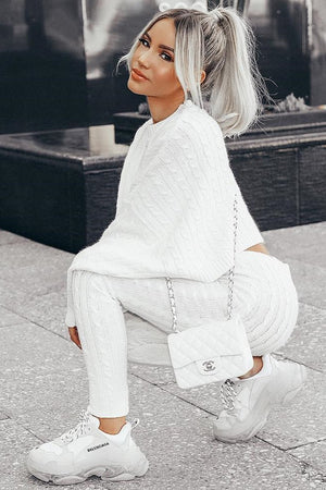 white batwing sweater and cable knit leggings set