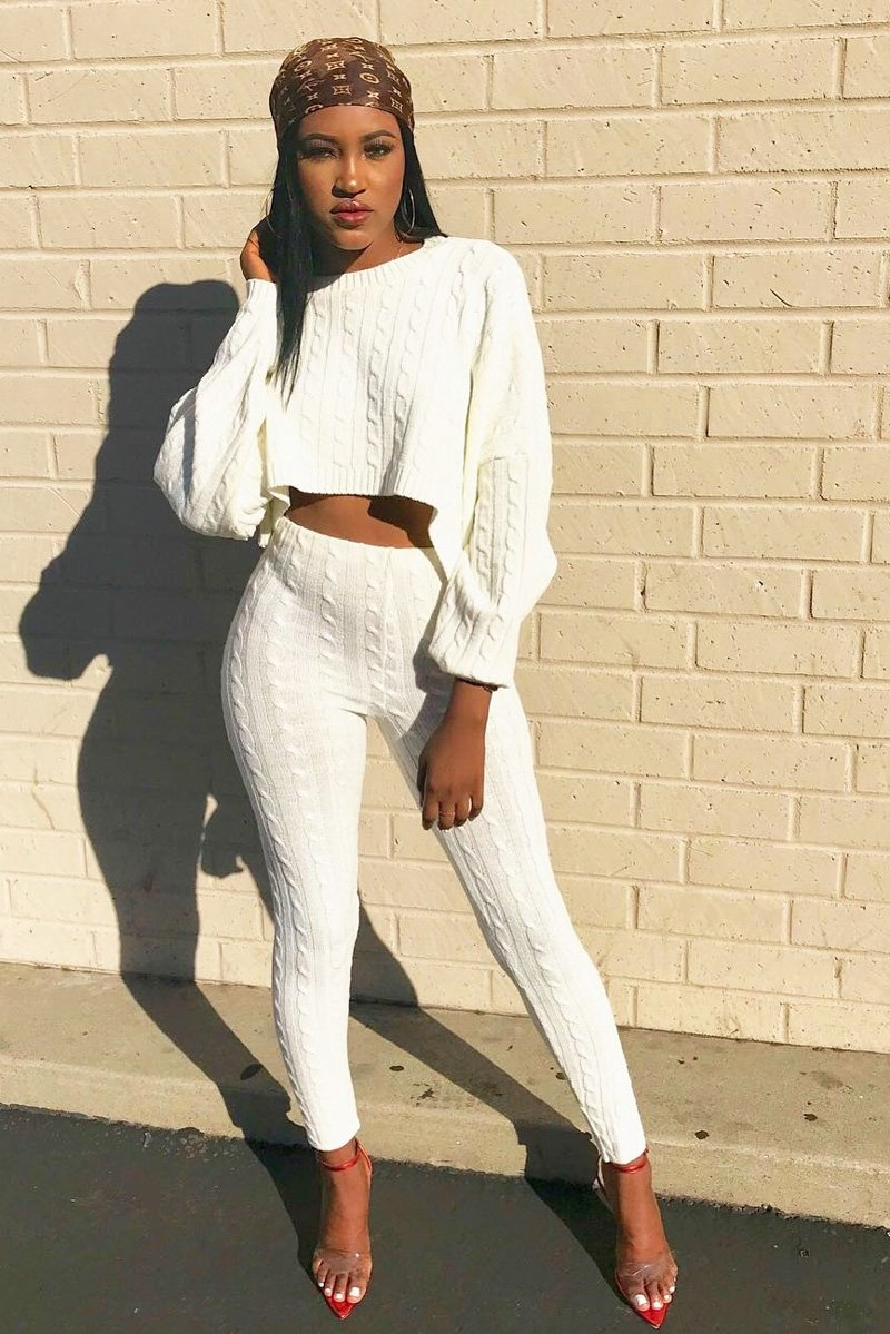 white batwing sweater and knit leggings coord set