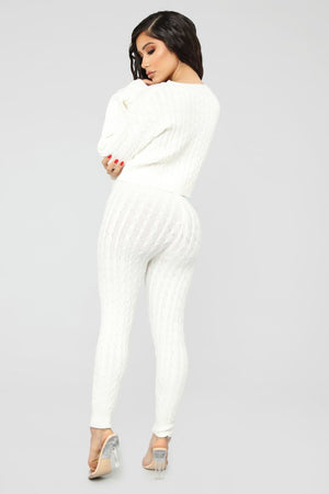 white batwing sweater leggings matching set