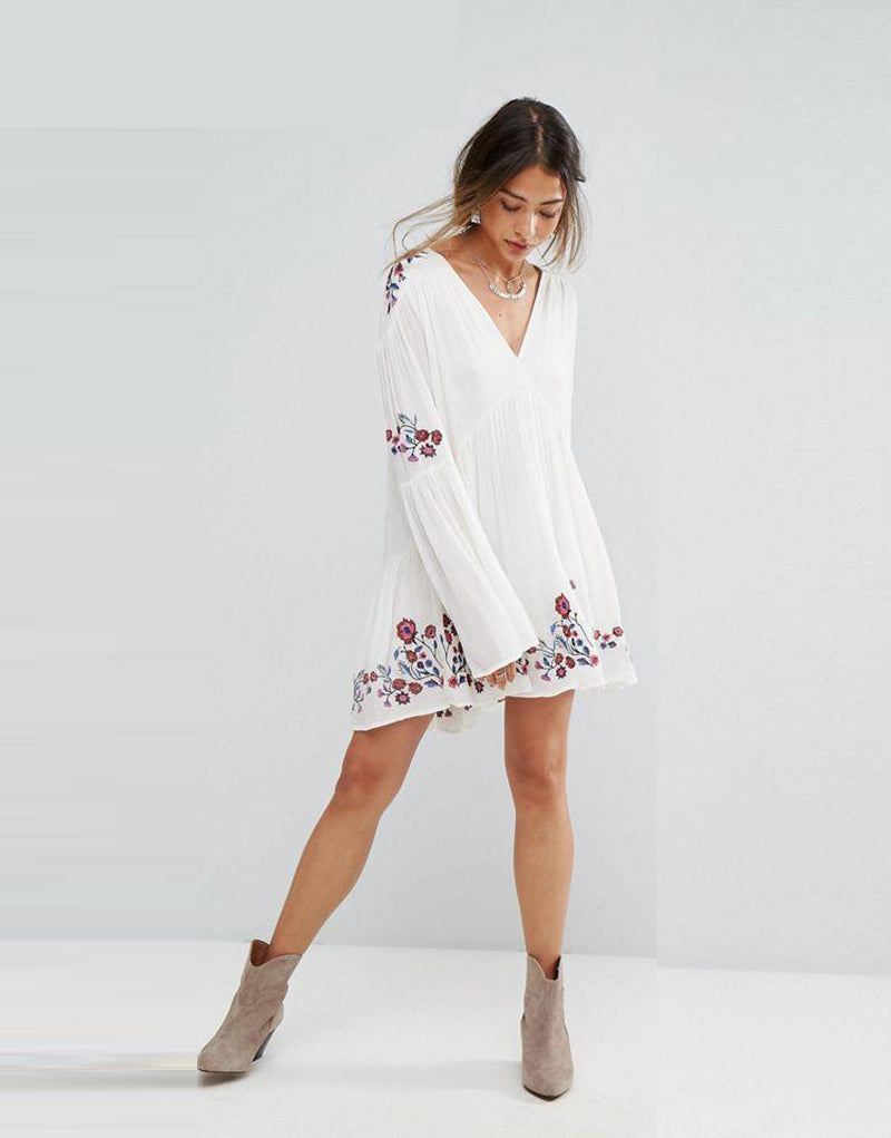 white boho mini dress