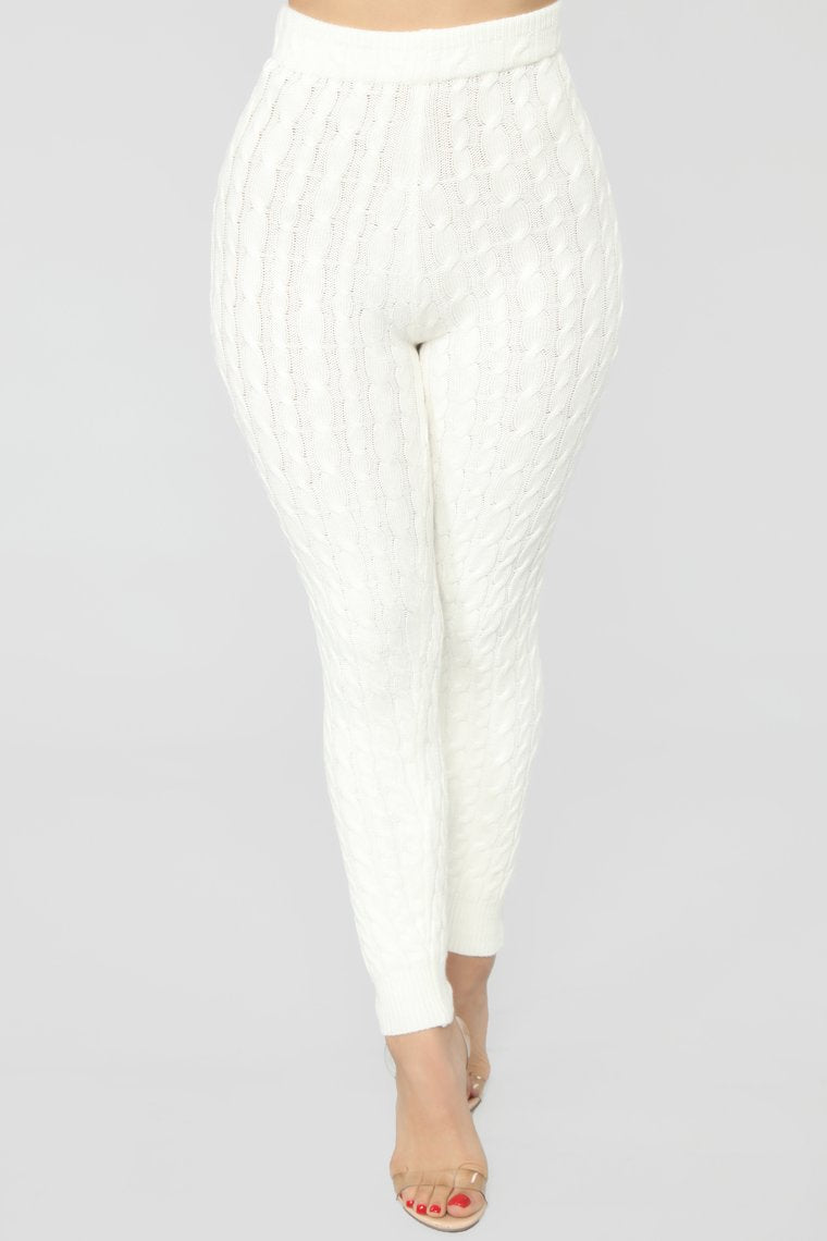 white cable knit leggings