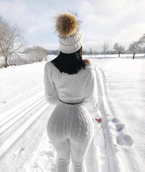 white cable knit sweater and leggings set