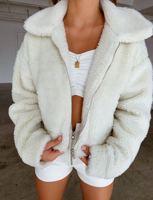 white cropped fleece jacket