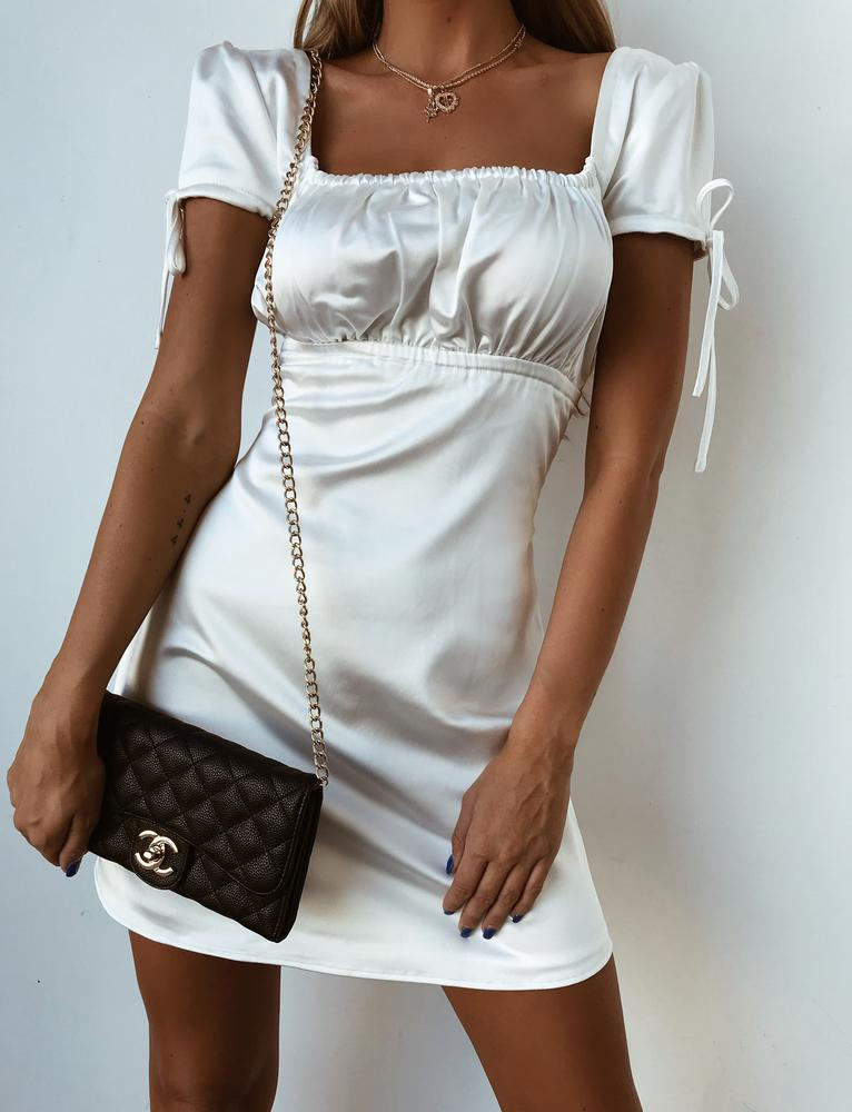 white faux satin mini dress