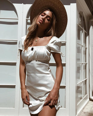 white faux satin party dress