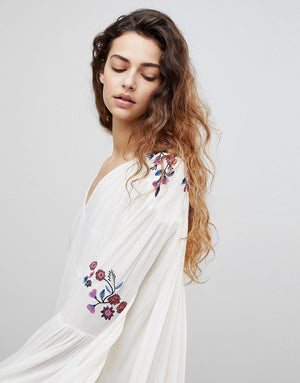 white floral embroidery long sleeve boho dress