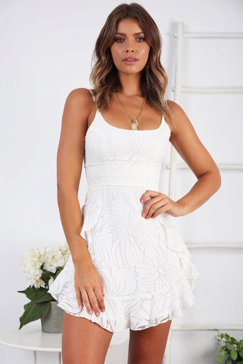 white frilled floral dress