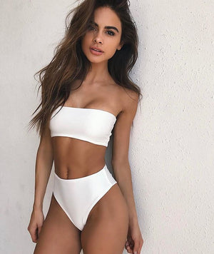 white high waisted bikini