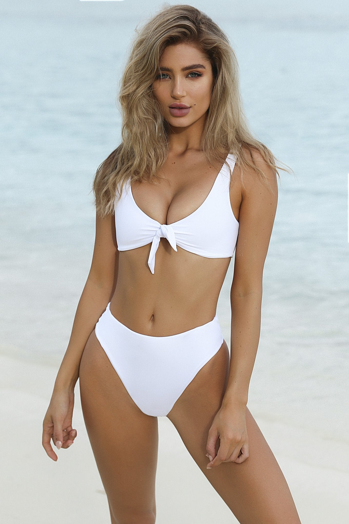 white high waisted tie front bikini