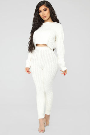 white knit batwing sweater leggings set