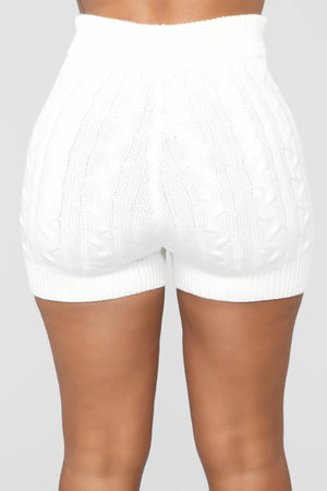 white knit shorts set
