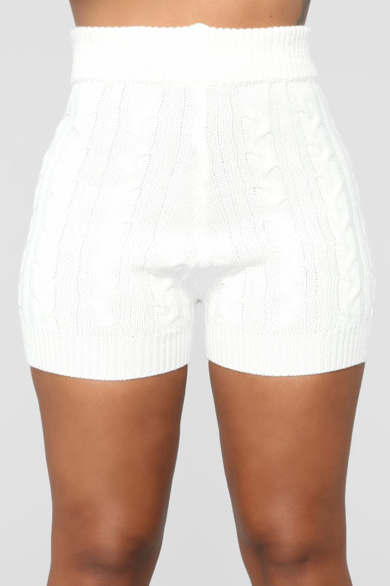 white knit shorts