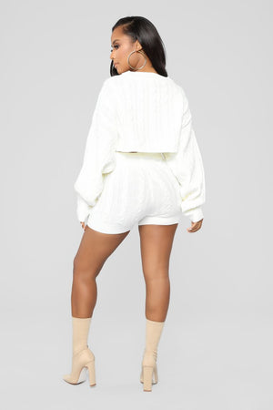white knitted sweater co-ord shorts set