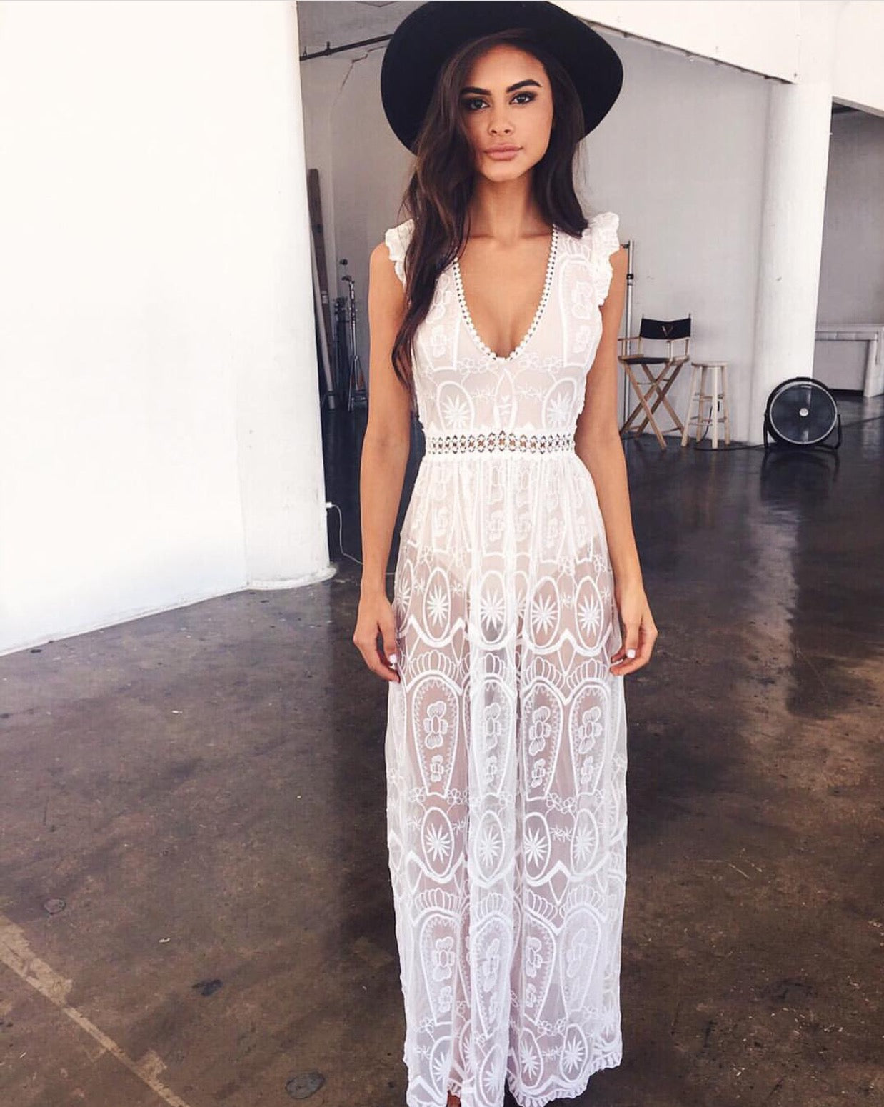 white lace beach maxi dress