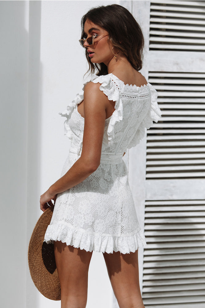 white lace ruffle mini dress