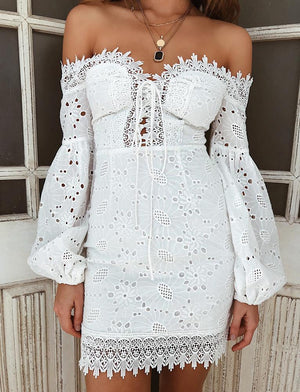white lace up off shoulder dress