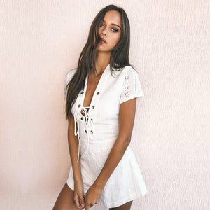 white lace up playsuit