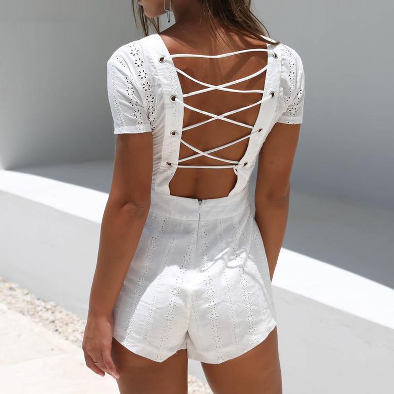 white lace up romper