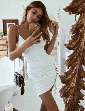white lace up side bodycon dress