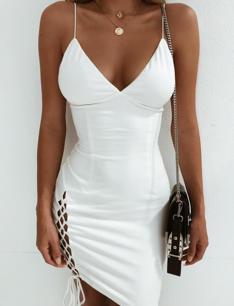 white lace up side dress