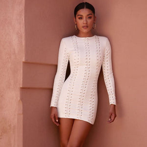 white long sleeve bodycon mini dress