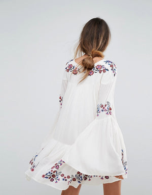 white long sleeve boho dress