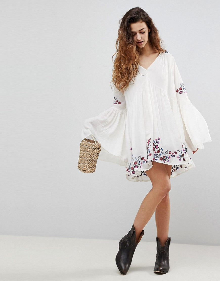 white long sleeve boho mini dress
