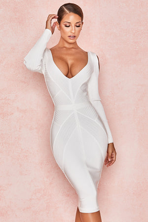 white long sleeve cut out bodycon dress