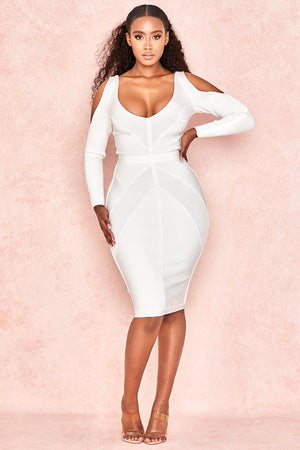 white long sleeve cut out bodycon midi dress