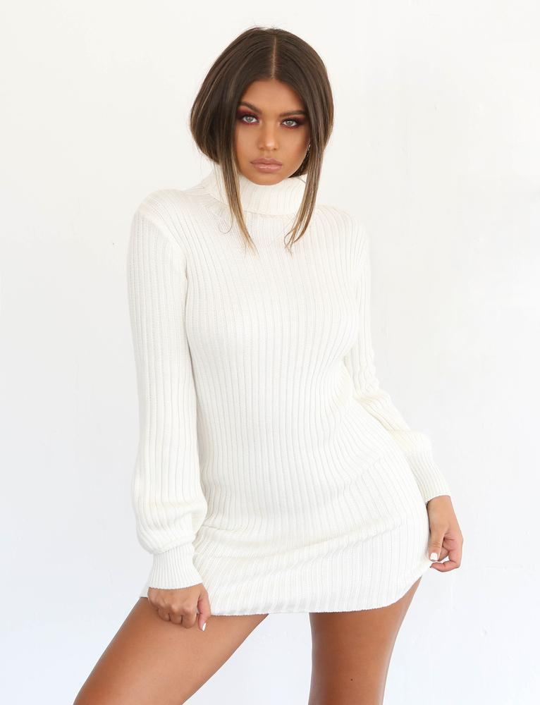 white long sleeve knit dress