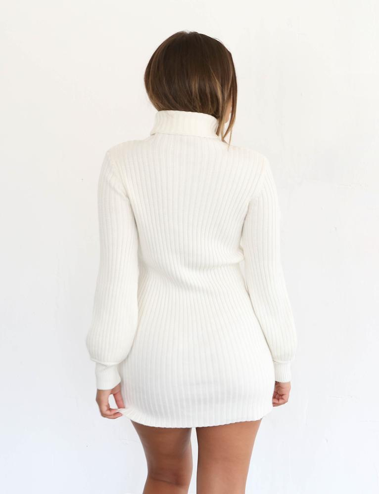 white long sleeve knit mini dress