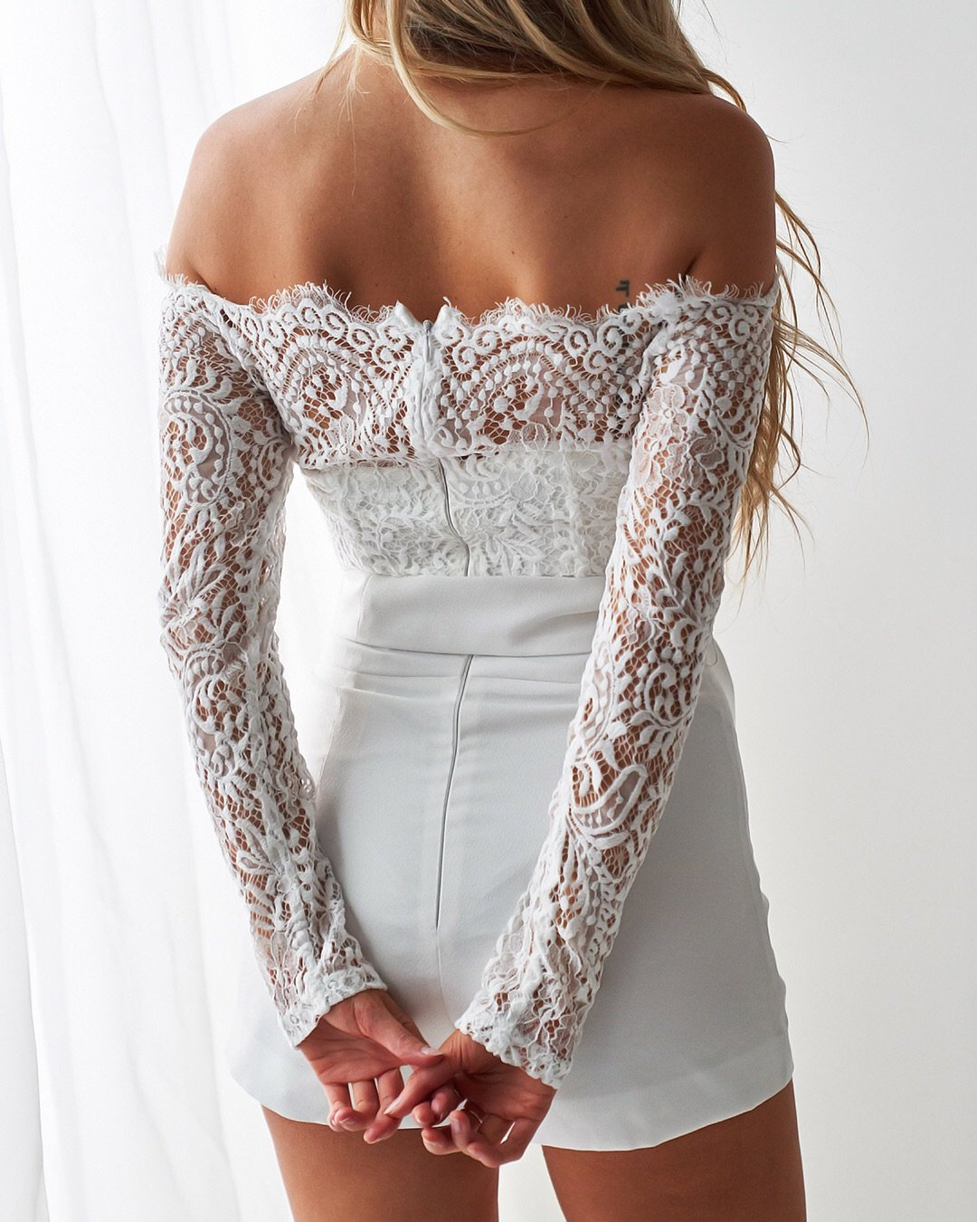 white long sleeve lace playsuit