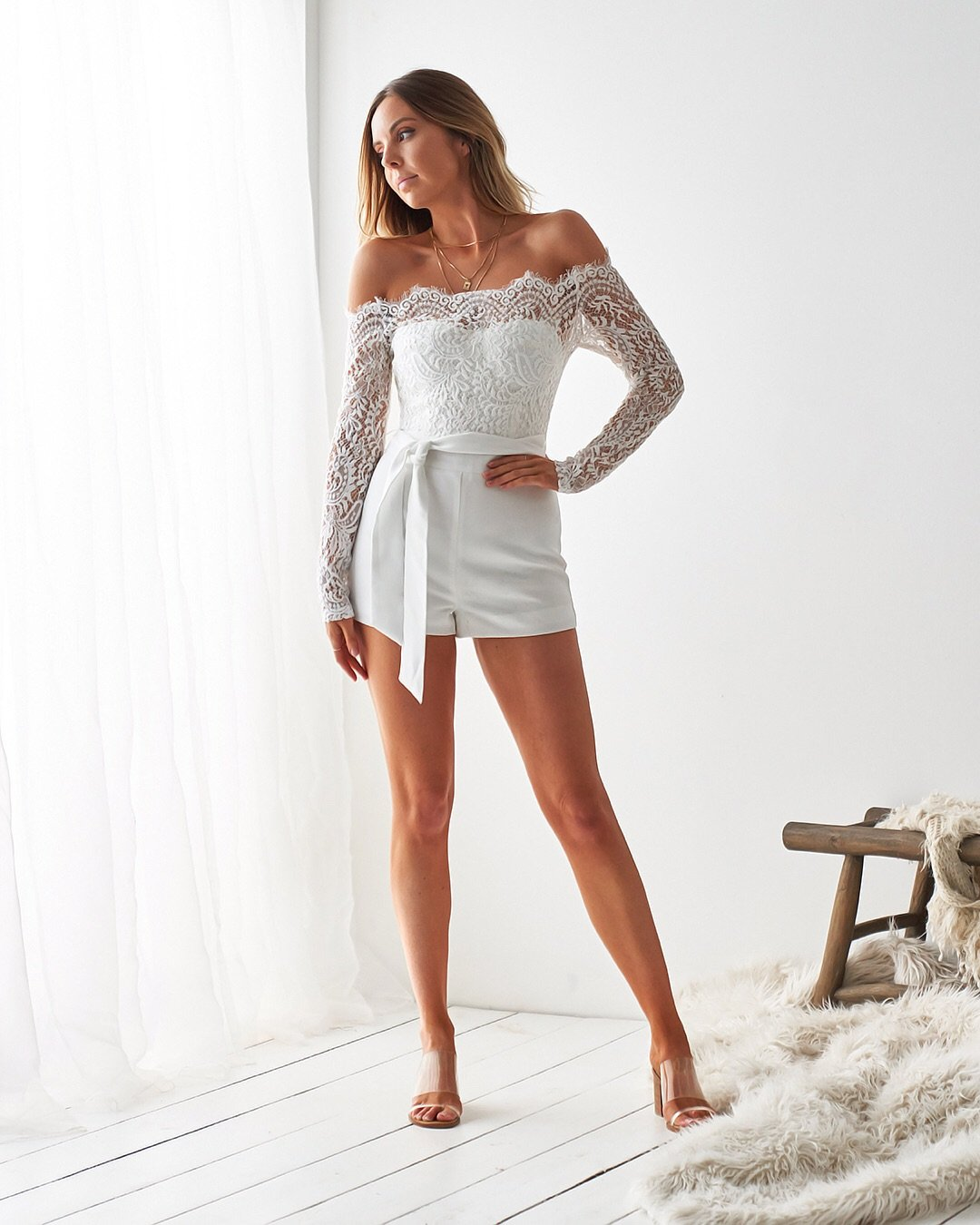 white long sleeve lace romper
