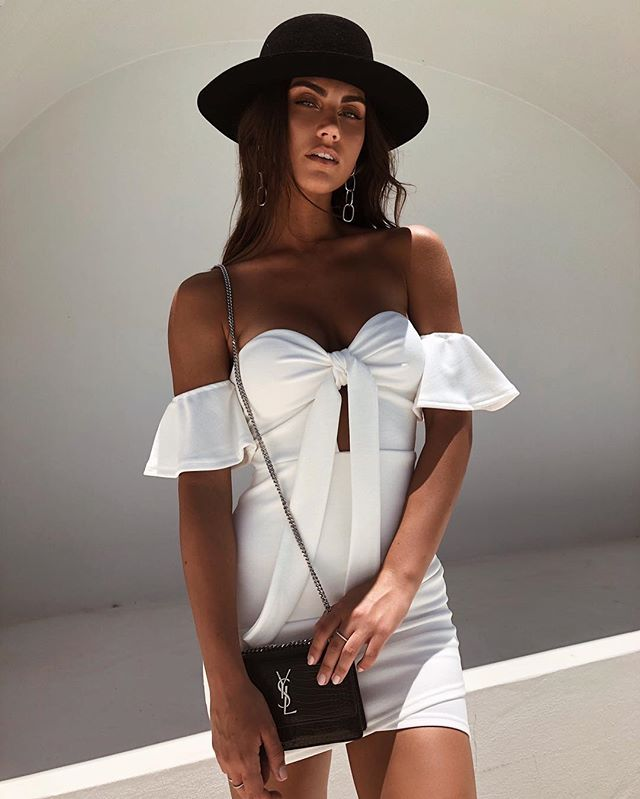 white off shoulder bodycon mini dress