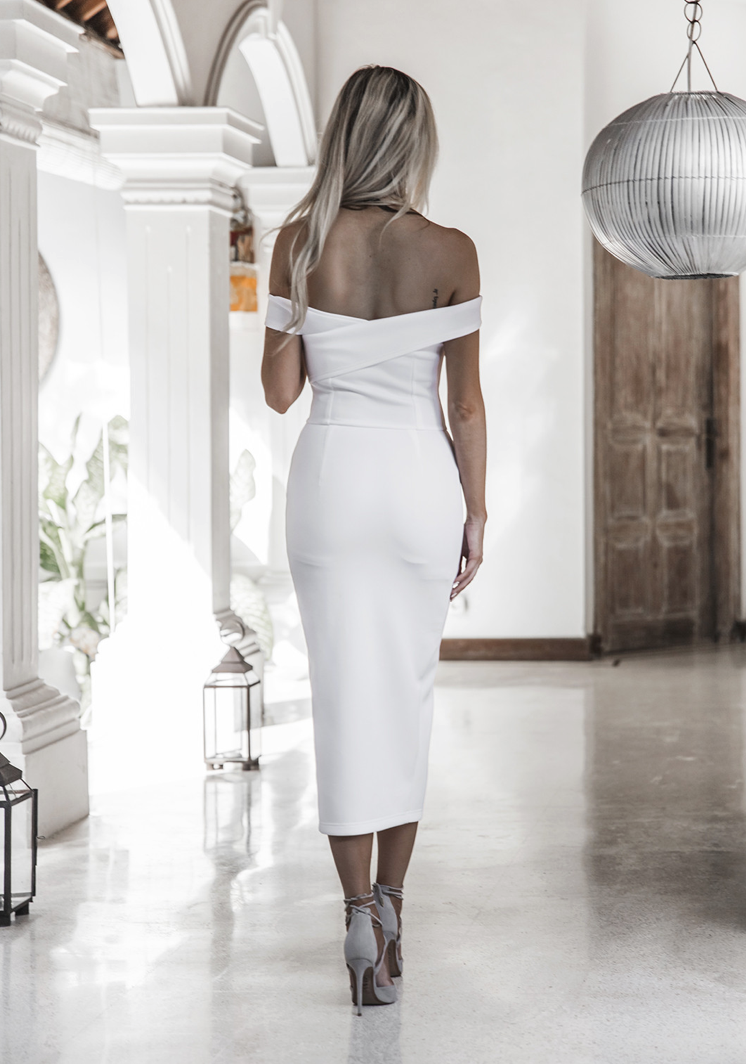 white off shoulder evening gown