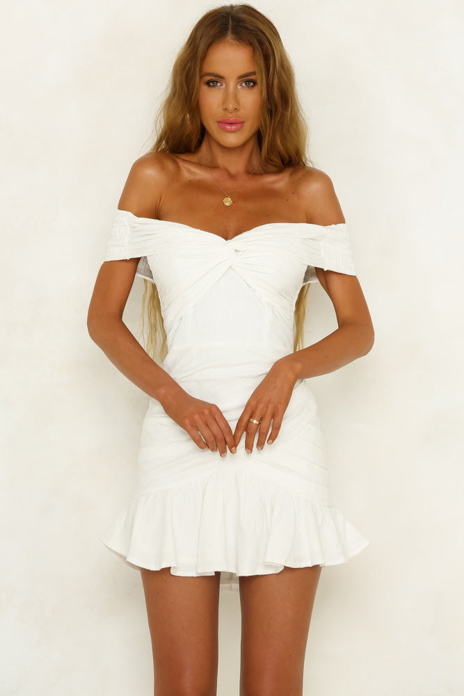 white off shoulder mini dress