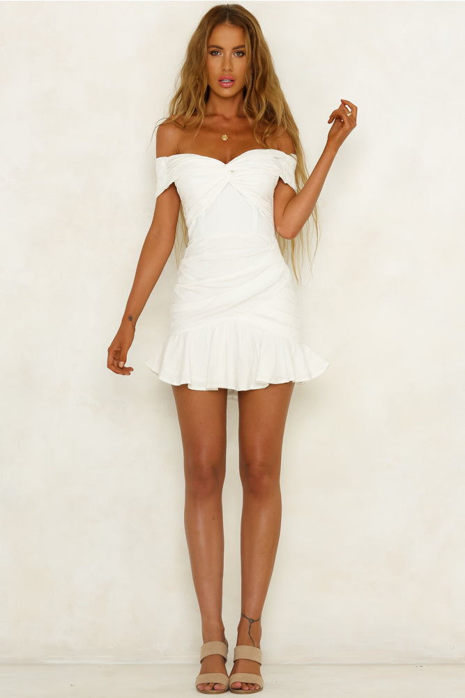 white off shoulder ruffle mini dress