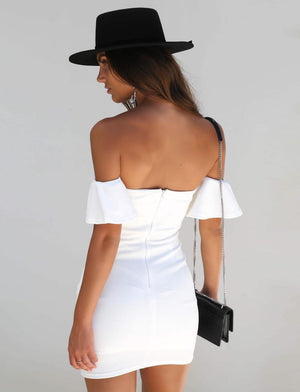white off the shoulder bodycon mini dress