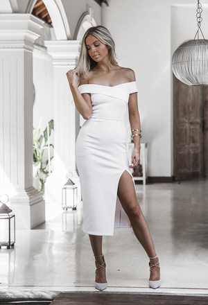 white off the shoulder evening gown