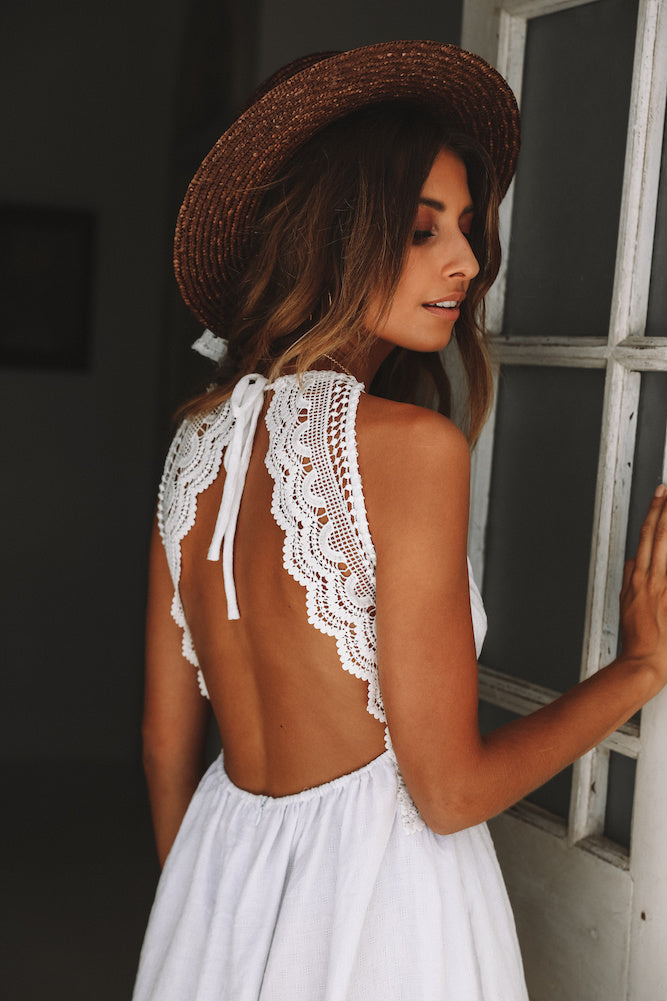 white open back sundress
