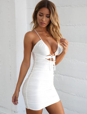 white plunge neckline bodycon dress