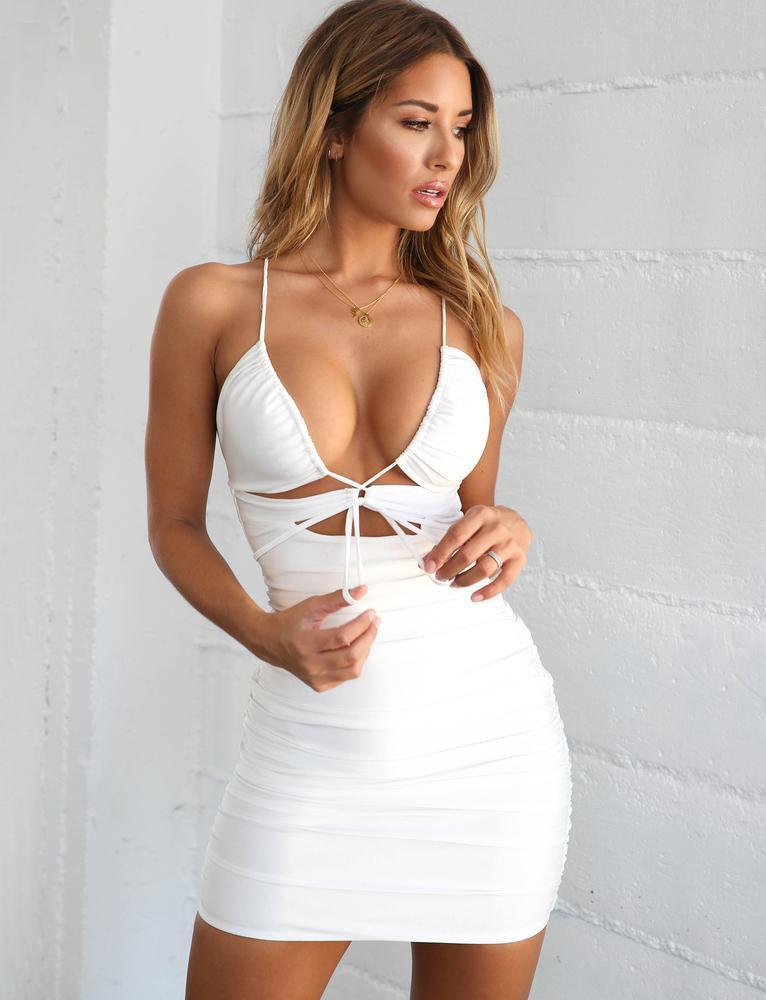 white plunge neckline dress