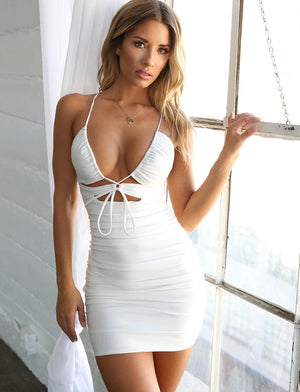 white plunging neckline dress