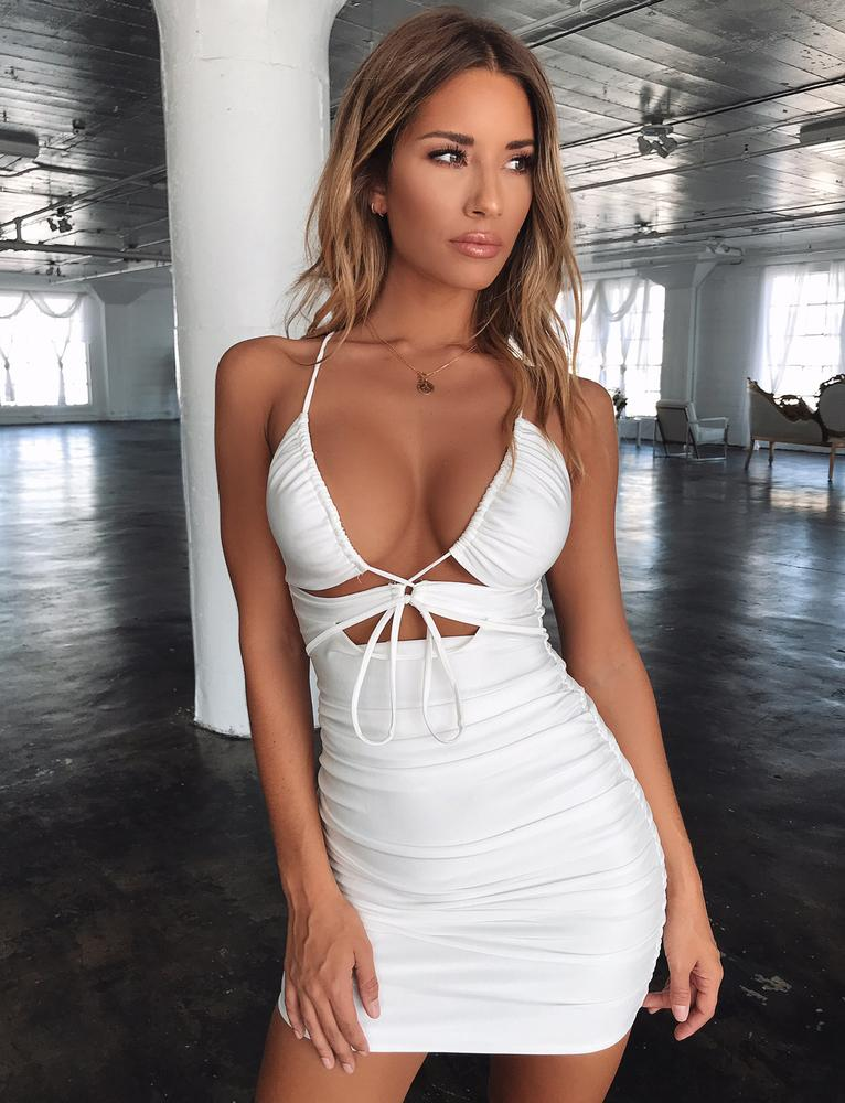 white plunging neckline party dress