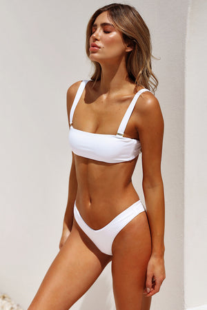 white removable strap high cut bikini