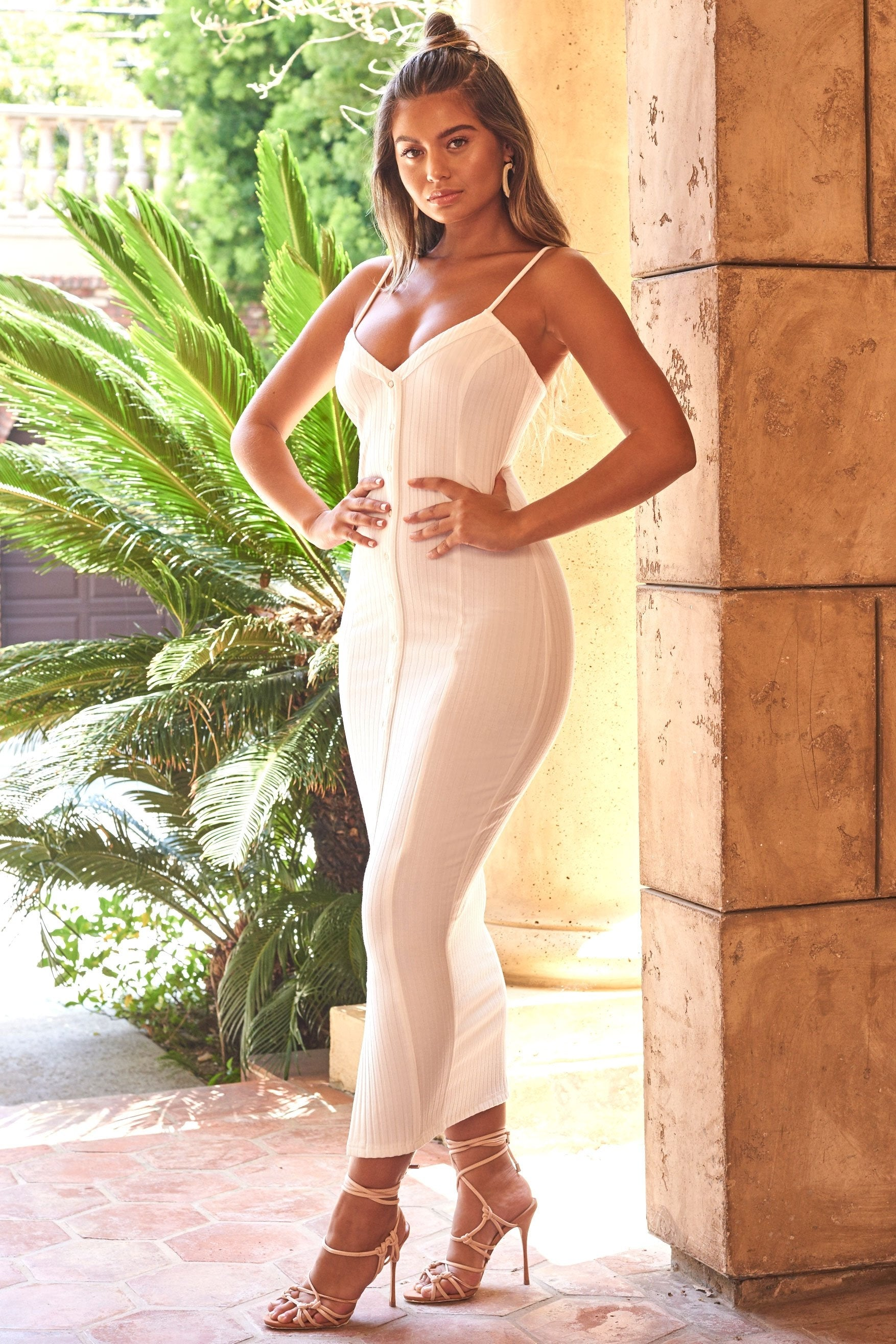 white ribbed jersey maxi dress