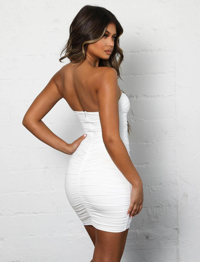 white ruched strapless dress