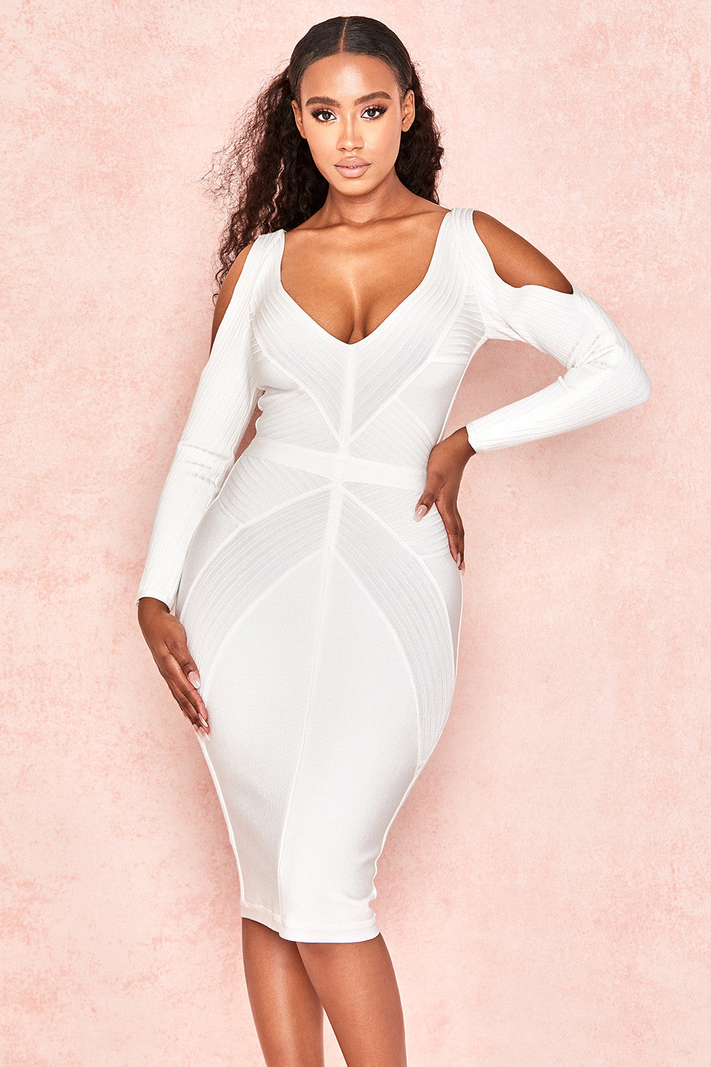 white shoulder cut out midi dress