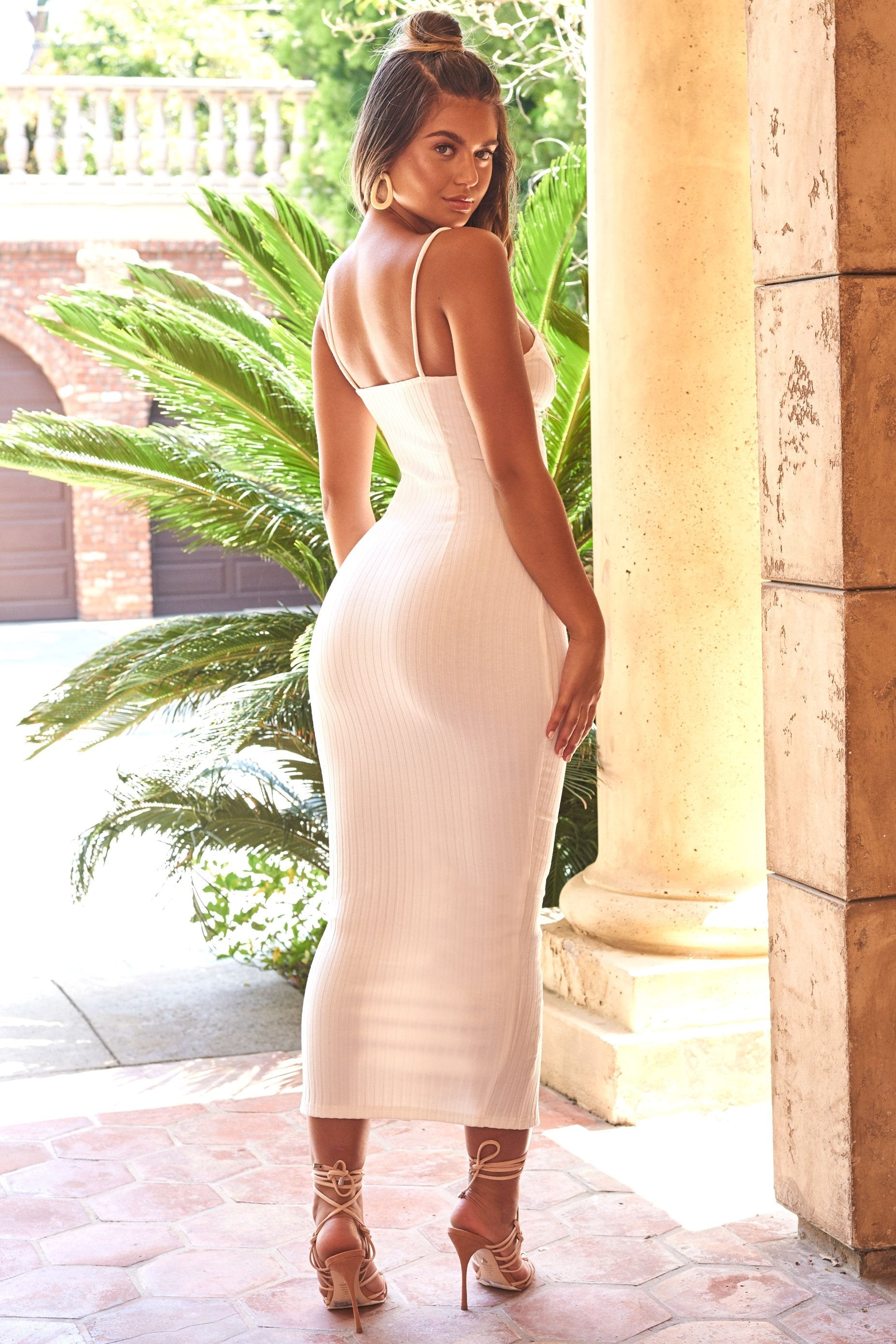 white spaghetti strap bodycon maxi dress